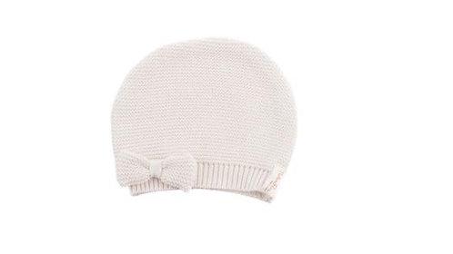 Bonnet en tricot pour fille, en coton bio, avec nœuds (hiver)