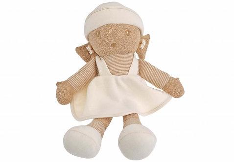 Poupée de chiffon en coton bio - couleur écru et marron - modèle fille ou garçon