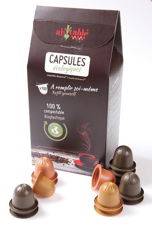 Boîte de 100 capsules écologiques 100 % compostables (compatibles Nespresso®)