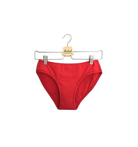 Culotte menstruelle en coton bio - Rouge - Tailles 2XS à 2XL - Flux léger à moye