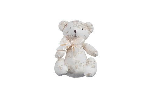 Ourson Teddy sérigraphié en coton bio - écru et beige