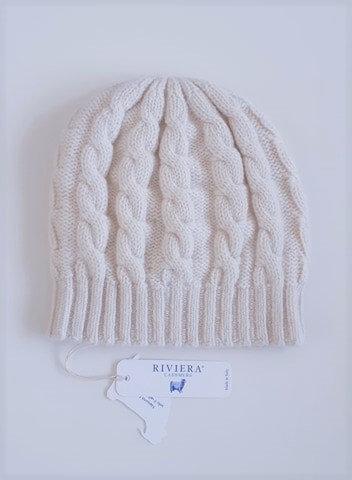Bonnet torsadé 100 % cachemire - Couleur Panna (crème) - Riviera Cashmere