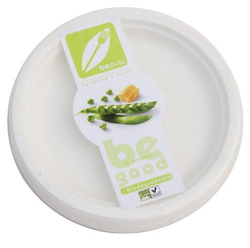 Lot de 25 assiettes plates, rondes, en fibres de canne à sucre - 18 cm ou 23 cm