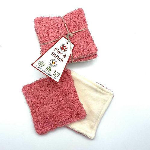 Lot de 5 carrés démaquillants lavables et réutilisables - 10 cm x 10 cm