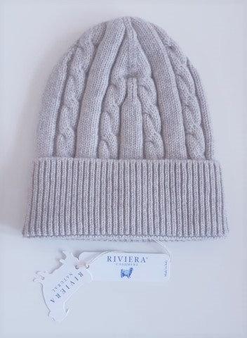 Bonnet torsadé 100 % cachemire - Couleur Silver (gris clair) - Riviera Cashmere