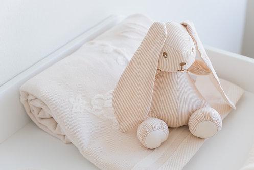Lapin à rayures en coton bio - écru et beige