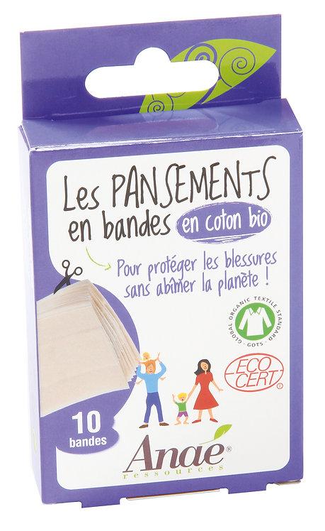 Boîte de 10 bandes de pansements en coton biologique