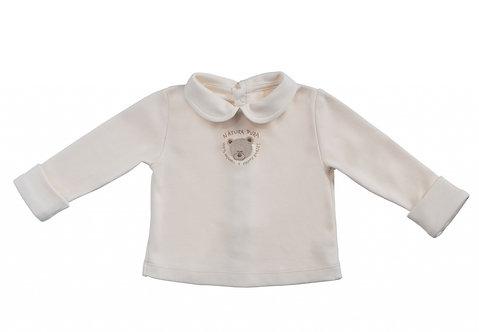 T-shirt col Claudine en coton bio, motif Teddy brodé (été-hiver)