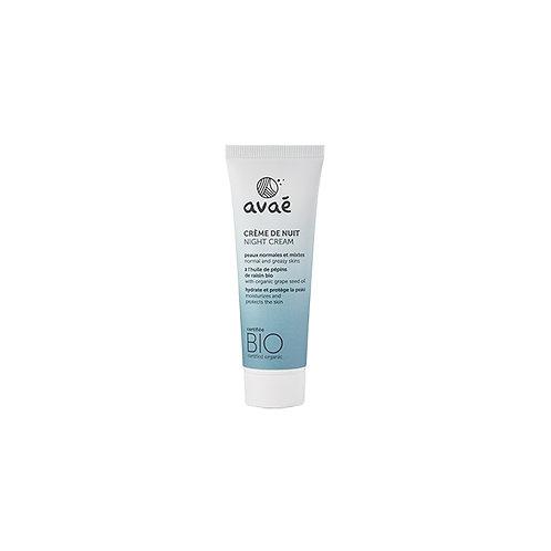 Crème de nuit pour peaux normales et mixtes certifiée bio Avaé - 50 ml
