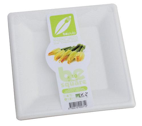 Lot de 10 assiettes plates, carrées, en fibres de canne à sucre - 26 x 26 cm