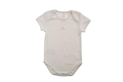 Body manches courtes en coton bio, inscription Baby NaturaPura, col américain