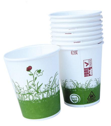 Lot de 12 gobelets en carton recyclé et bioplastique - 25 cl