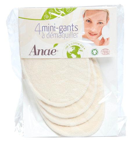 Sachet de 4 mini-gants à démaquiller en coton bio - lavables et réutilisables