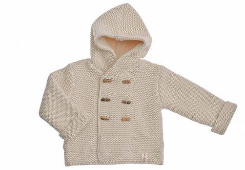 Veste à capuche en maille de coton bio, boutons en bois (hiver)