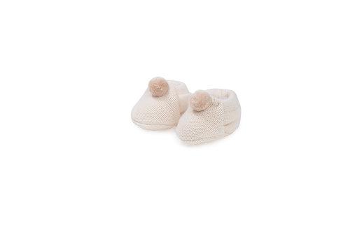 Chaussons en maille de coton bio, écru, avec pompon beige (hiver)