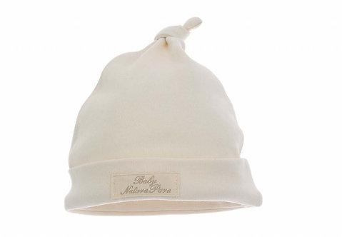 Bonnet avec nœud en coton bio - écru ou beige (été-hiver)