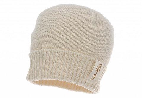 Bonnet en maille de coton bio - écru ou beige foncé (été-hiver)
