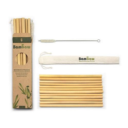 Lot de 12 pailles en bambou bio - 12 x 22 cm + 1 brosse de nettoyage