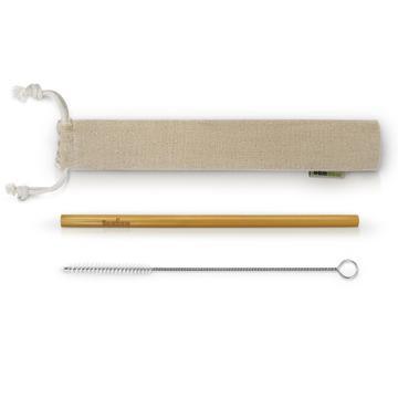 Paille en bambou (22 cm), goupillon et pochette de rangement