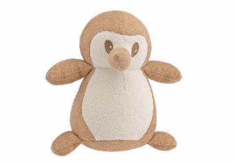 Peluche pingouin en coton bio - écru et marron