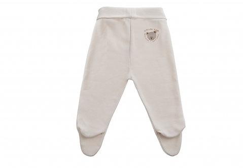 Pantalon en coton bio, motif Teddy brodé, écru (été-hiver)