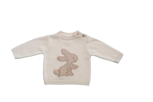 Pull over en coton bio, motif lapin en tricot (hiver)