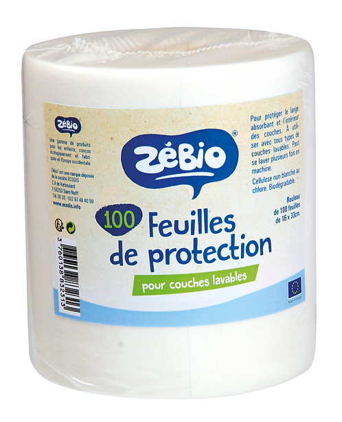 Rouleau de 100 feuilles de protection pour couches lavables