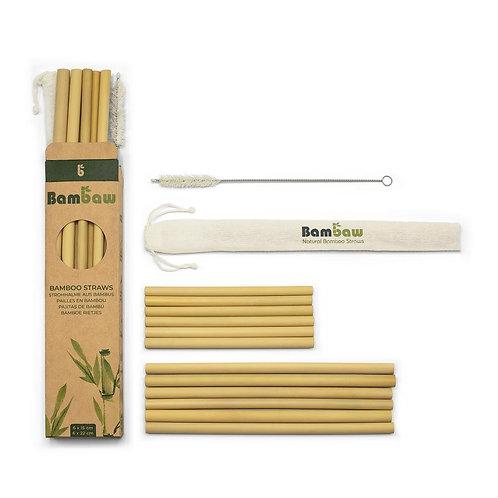 Lot de 12 pailles en bambou bio - 6 x 15 cm + 6 x 22 cm + 1 brosse de nettoyage