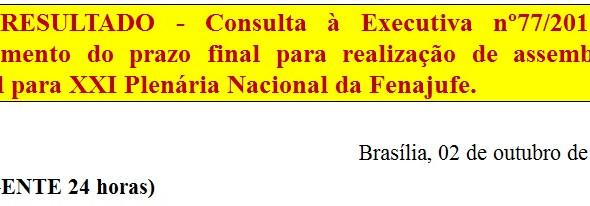 [Discussão-Executiva] 77. RESULTADO - Consulta à Executiva nº77/2017 – Adiamento do prazo final para