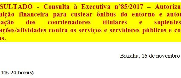 [Discussão-Executiva] 85. RESULTADO - Consulta à Executiva nº85/2017 – Autorização de contribuição f