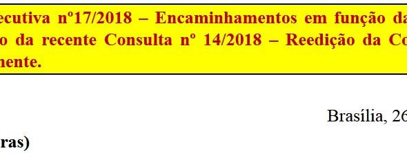 [Discussão-Executiva] 17.Consulta à Executiva nº17/2018 – Encaminhamentos em função da repercussão e