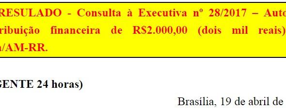 [Discussão-Executiva] 28. RESULTADO - Consulta à Executiva nº 28/2017 – Autoriza contribuição financ