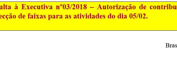 [Discussão-Executiva] RESULTADO -Consulta à Executiva nº03/2018 – Autorização de contribuição financ