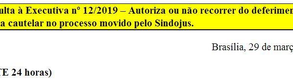 [Discussão-Executiva] 12. Consulta à Executiva nº 12/2019 – Autoriza ou não recorrer do deferimento