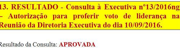 13. RESULTADO - Consulta à Executiva nº13/2016ng - Autorização para proferir voto de liderança na Re