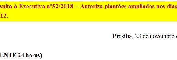 [Discussão-Executiva] 52. Consulta à Executiva nº52/2018 – Autoriza plantões ampliados nos dias 4/12