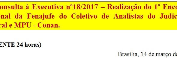 [Discussão-Executiva] 18. Consulta à Executiva nº18/2017 – Realização do 1º Encontro Nacional da Fen