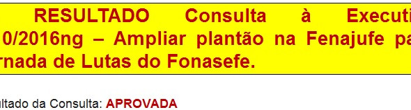 10. RESULTADO Consulta à Executiva nº10/2016ng - Ampliar plantão na Fenajufe para Jornada de Lutas d