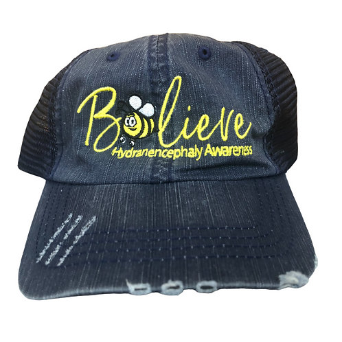 Distressed Velcro Tab Trucker-Style Hat - Navy