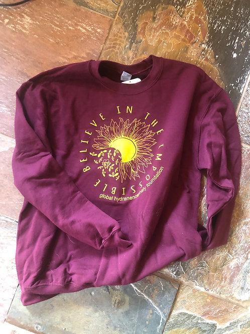 Sunflower Hydranencephaly Awareness Crewneck Sweatshirt: Maroon