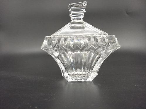 Porta joia retangular talhado em vidro