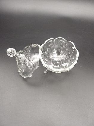 Porta joia esférico talhado em vidro