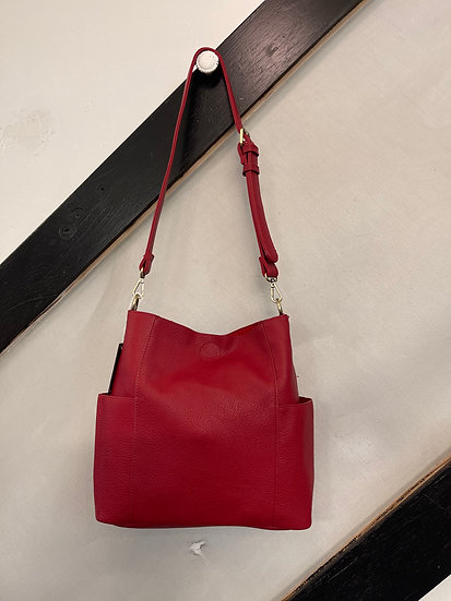Red Kayleigh Side Pocket Bucket Bag