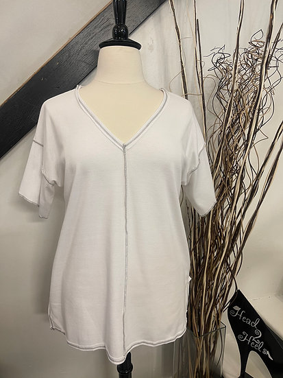 White V-Neck Top with Raw Stitching and Side Slits