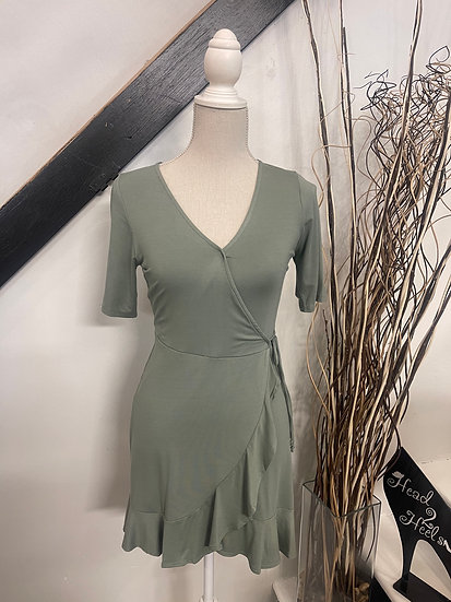 Sage Elbow-Length Sleeve Dress with Ruffle Detail