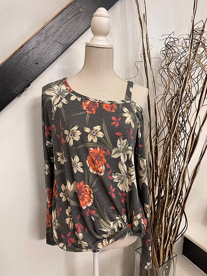 Floral Cold Shoulder Top with Knot