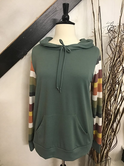 Colored Long Sleeved Top with Hood