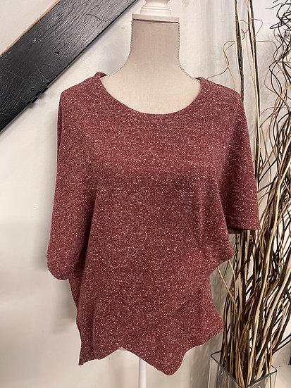 Heather Wine Half Sleeve Asymmetrical Layered Top