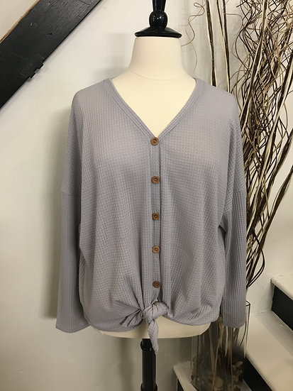 Gray Long Sleeve with Tie and Buttons