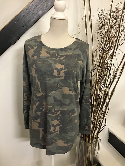 Camo Print LS Tunic Top with Crisscross Back Detail